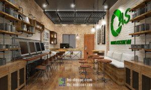 Cafe phong cách văn phòng gỗ mộc