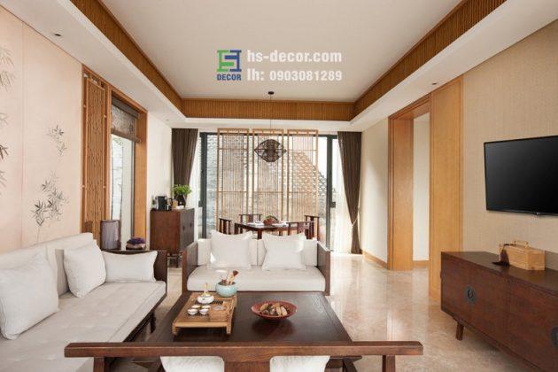 Thiết kế nội thất biệt thự phong cách châu Á hiện đại